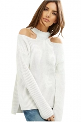 Women Sexy Cold Shoulder Pullover Long Sleeve Plain Sweater White
