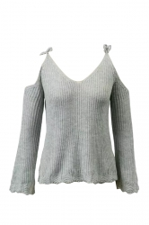 Sexy Tie Shoulder V Neck Cold Shoulder Flare Hem Sweater Gray
