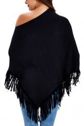 Women Sexy One Shoulder Poncho With Fringe Hem Black