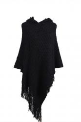 Women Hooded Fringe Hem Plain Poncho Black