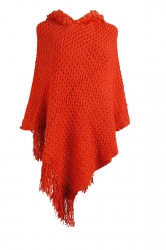 Women Hooded Fringe Hem Plain Poncho Orange Red
