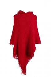 Women Hooded Fringe Hem Plain Poncho Red