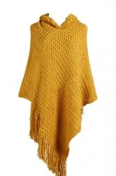 Women Hooded Fringe Hem Plain Poncho Yellow