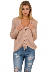 Women Sexy V Neck Long Sleeve Lace Up Hollow Up Sweater Khaki