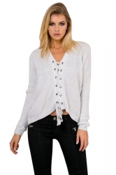 Women Sexy V Neck Long Sleeve Lace Up Hollow Up Sweater Light Gray
