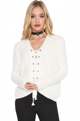 Women Sexy V Neck Long Sleeve Lace Up Hollow Up Sweater White