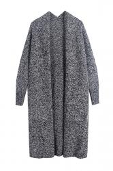 Women Collarless Long Sleeve Pocket Open Cardigan Dark Gray