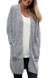 Women Collarless Long Sleeve Pocket Open Cardigan Gray