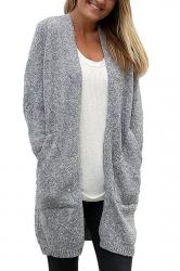 Women Collarless Long Sleeve Pocket Open Cardigan Gray