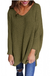 Women Oversized V-Neck Long Sleeve Plain Sweater Army Green
