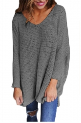 Women Oversized V-Neck Long Sleeve Plain Sweater Gray