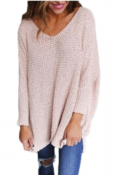 Women Oversized V-Neck Long Sleeve Plain Sweater Pink