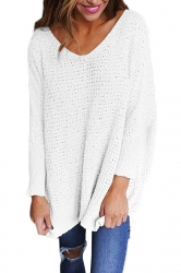 Women Oversized V-Neck Long Sleeve Plain Sweater White