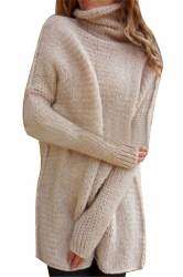 Women Oversized High Collar Knit Sweater Apricot