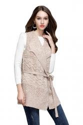 Women Knit Sleeveless Lace Up Plain Sweater Vest Army Apricot