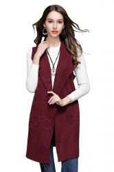 Women Knit Sleeveless Lace Up Plain Sweater Vest Army Ruby