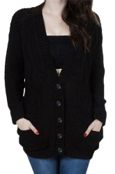 Womens V-Neck Batwing Sleeve Pocket Cardigan Sweater Coat Black