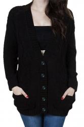 Womens V-Neck Batwing Sleeve Pocket Cardigan Sweater Coat Black