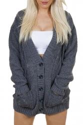 Womens V-Neck Batwing Sleeve Pocket Cardigan Sweater Coat Dark Gray