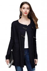 Womens Elegant Knit Long Sleeve Cardigan Sweater Coat Navy Blue