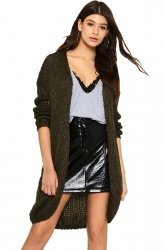Womens Fashion Knit Long Sleeve Plain Cardigan Army Green