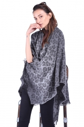 Women Plain Poncho With Fringe Dark Gray