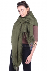 Women Plain Poncho With Fringe Green