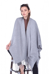 Women Plain Poncho With Fringe Gray