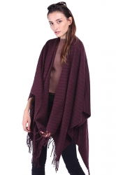 Women Plain Poncho With Fringe Purple