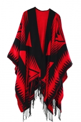 Both Side Plaid Poncho With Fringe Ruby