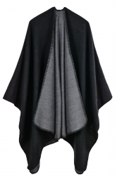 Women Plain Poncho Black