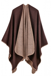 Women Plain Poncho Coffee