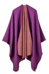 Women Plain Poncho Purple