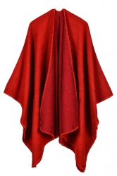 Women Plain Poncho Red