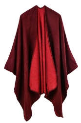 Women Plain Poncho Ruby