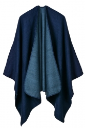Women Plain Poncho Navy Blue