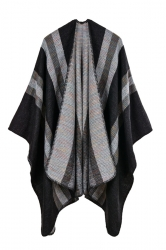 Women Stripe Pattern Poncho Black
