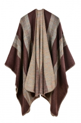 Women Stripe Pattern Poncho Coffee