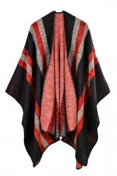 Women Stripe Pattern Poncho Red