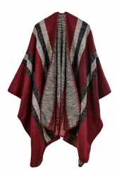 Women Stripe Pattern Poncho Ruby