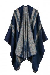 Women Stripe Pattern Poncho Navy Blue