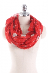 Womens Soft And Warm Birds Printed Scarf Ruby