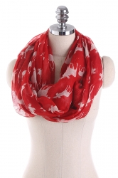Reindeer Printed Warm And Soft Scarf Ruby