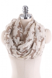 Horses Printed Warm And Soft Scarf Apricot