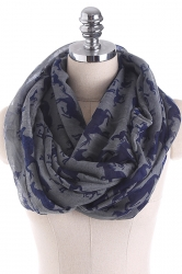 Horses Printed Warm And Soft Scarf Dark Gray