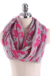 Horses Printed Warm And Soft Scarf Rose Red