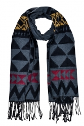 Womens Triangle Printed Shawl Scarf With Fringe Dark Gray