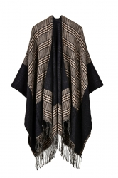 Womens Pattern Thick Poncho With Fringe Khaki