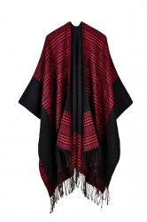 Womens Pattern Thick Poncho With Fringe Ruby