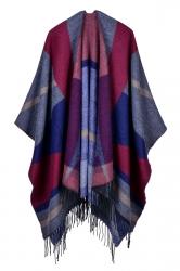 Both Sides Color Block Fringe Shawl Poncho For Women Ruby